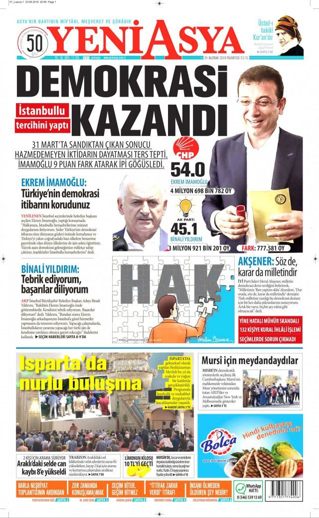 Ekrem İmamoğlu'nun tarihi zaferini gazeteler nasıl gördü? - Sayfa:1